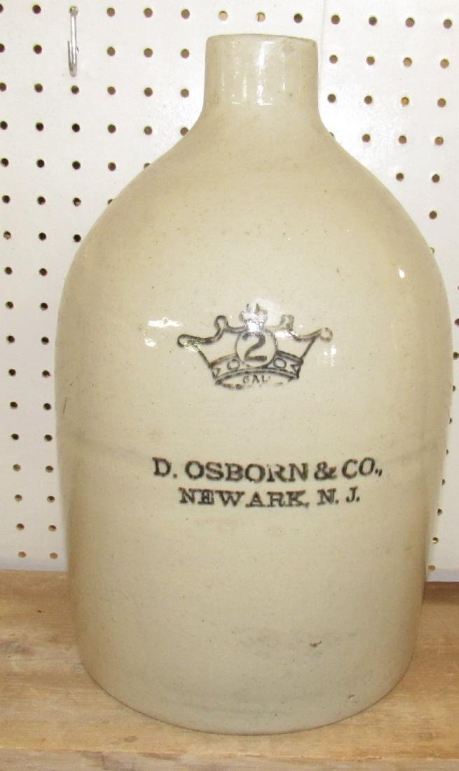 D. Osborn 2 Gallon Stoneware Jug Newark NJ