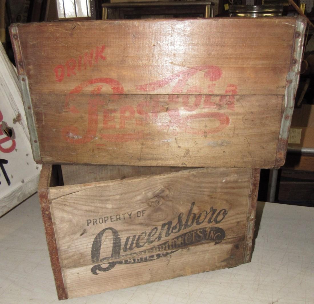 Pepsi Cola Soda & Queensboro Dairy Crates