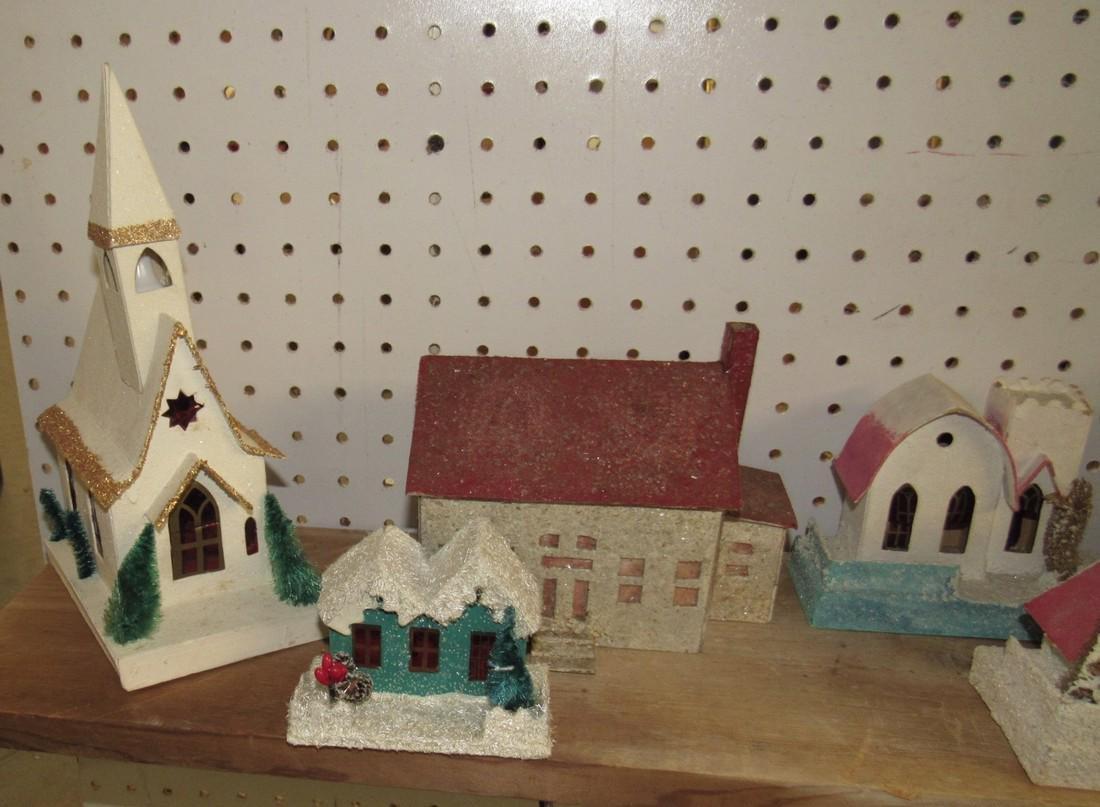 Vintage Putz Christmas Houses Churches - 4