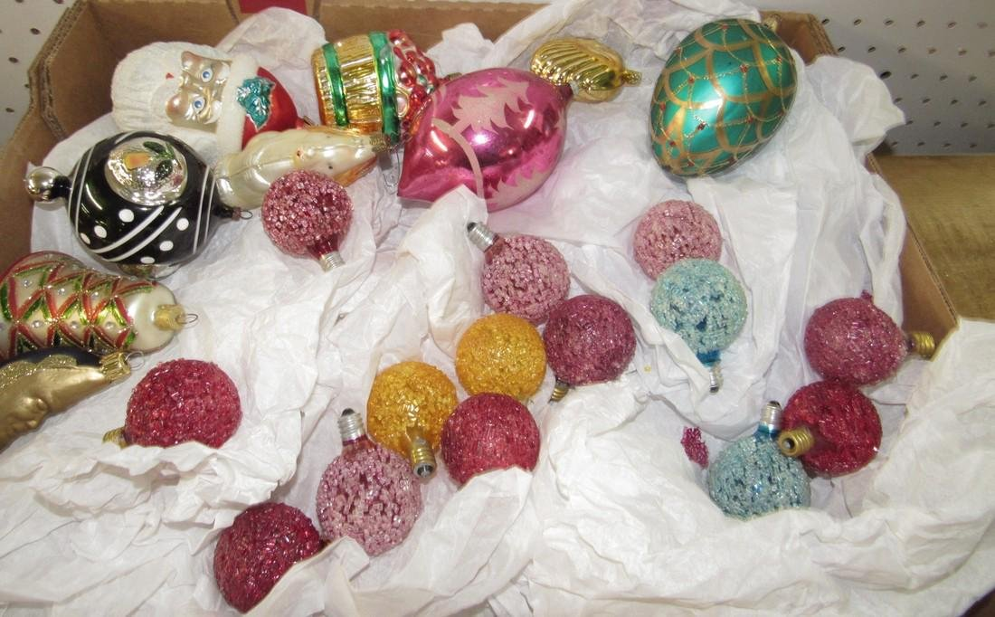 Lot of Vintage Christmas Ornaments & Lights