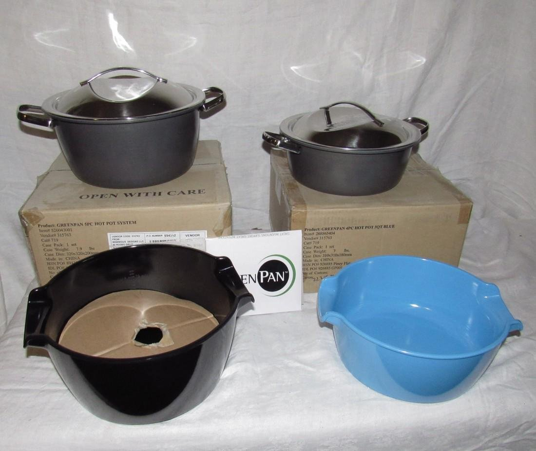 2 Greenpans with Hot Pots