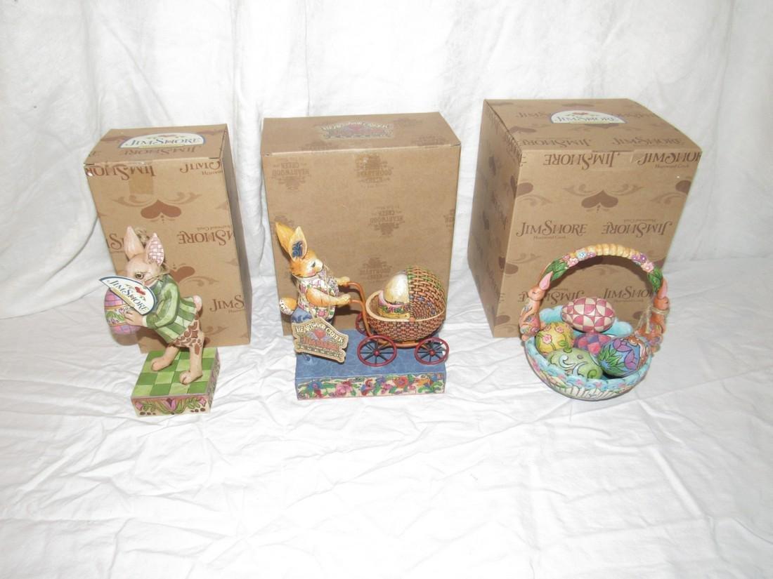 3 Jim Shore Figurines Bunny Rabbits Easter Eggs