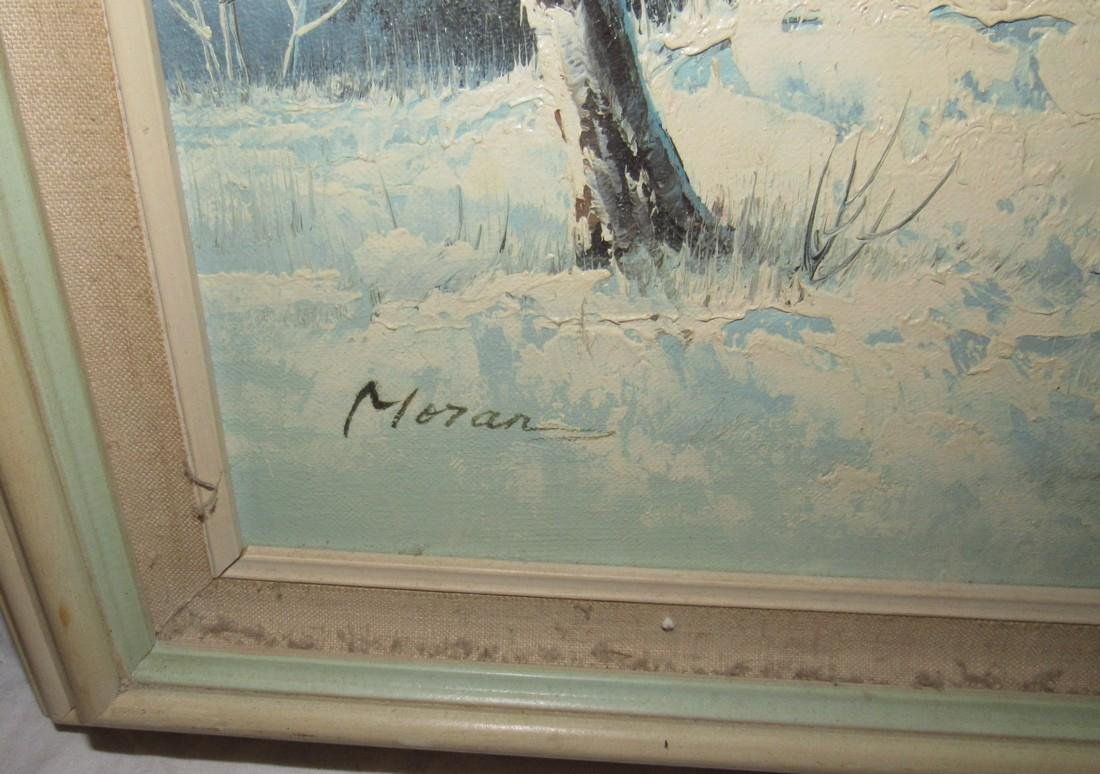 Moran Winter Scene Oil on Canvas Painting - 5