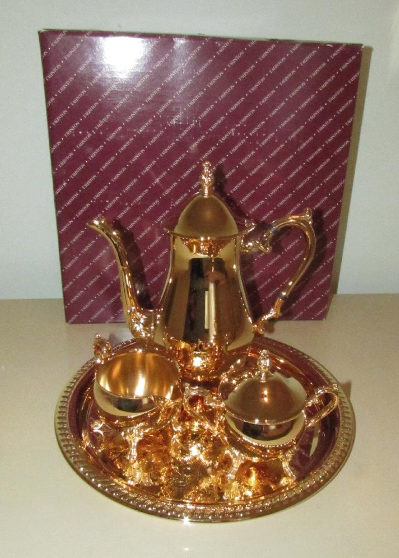 Taunton Silverplate 24k Gold Electroplate Tea Set