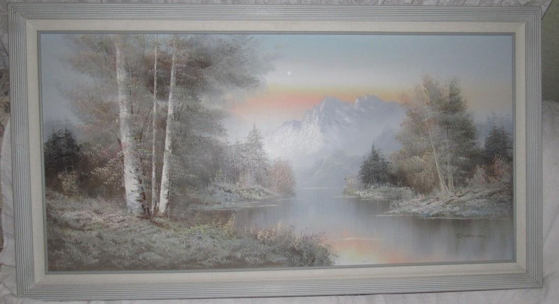 R Thomas Oil On Canvas Painting