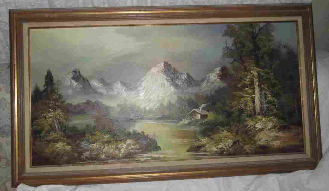 Oil on Canvas Landscape Mountain Scene Painting