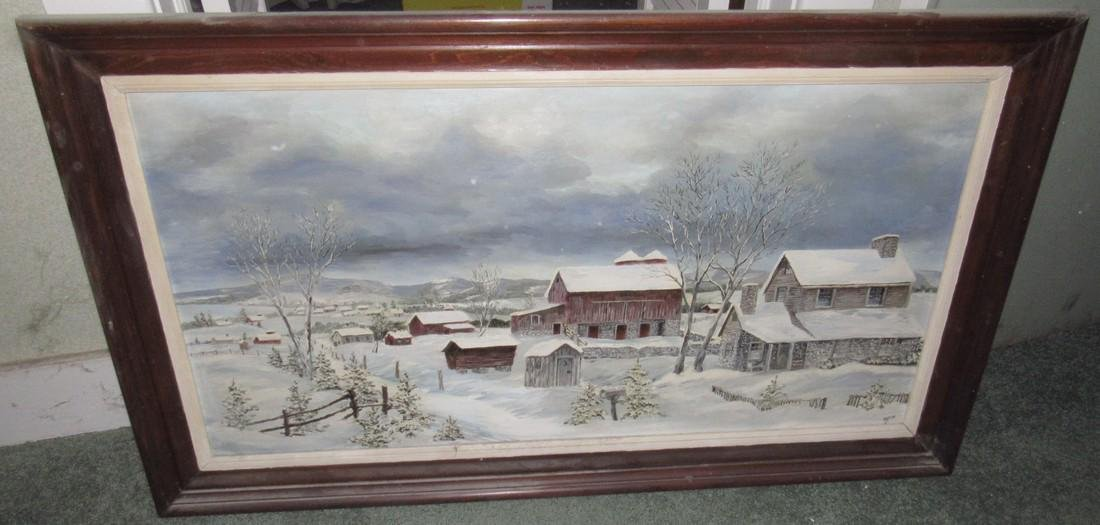 Winter Country Oil On Canvas Painting