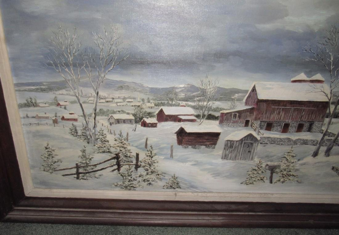 Winter Country Oil On Canvas Painting - 2