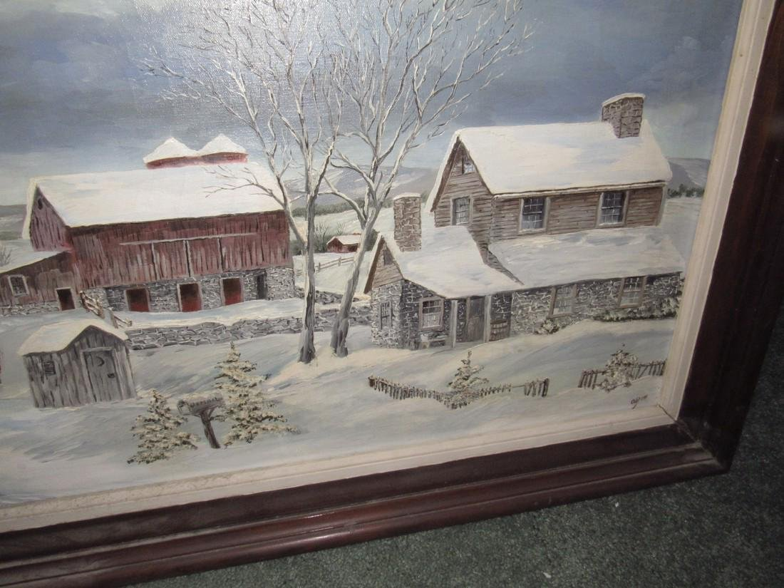 Winter Country Oil On Canvas Painting - 3
