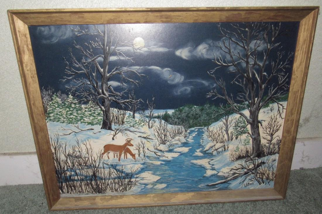 L.H Krers Oil on Board Painting Winter Outdoor