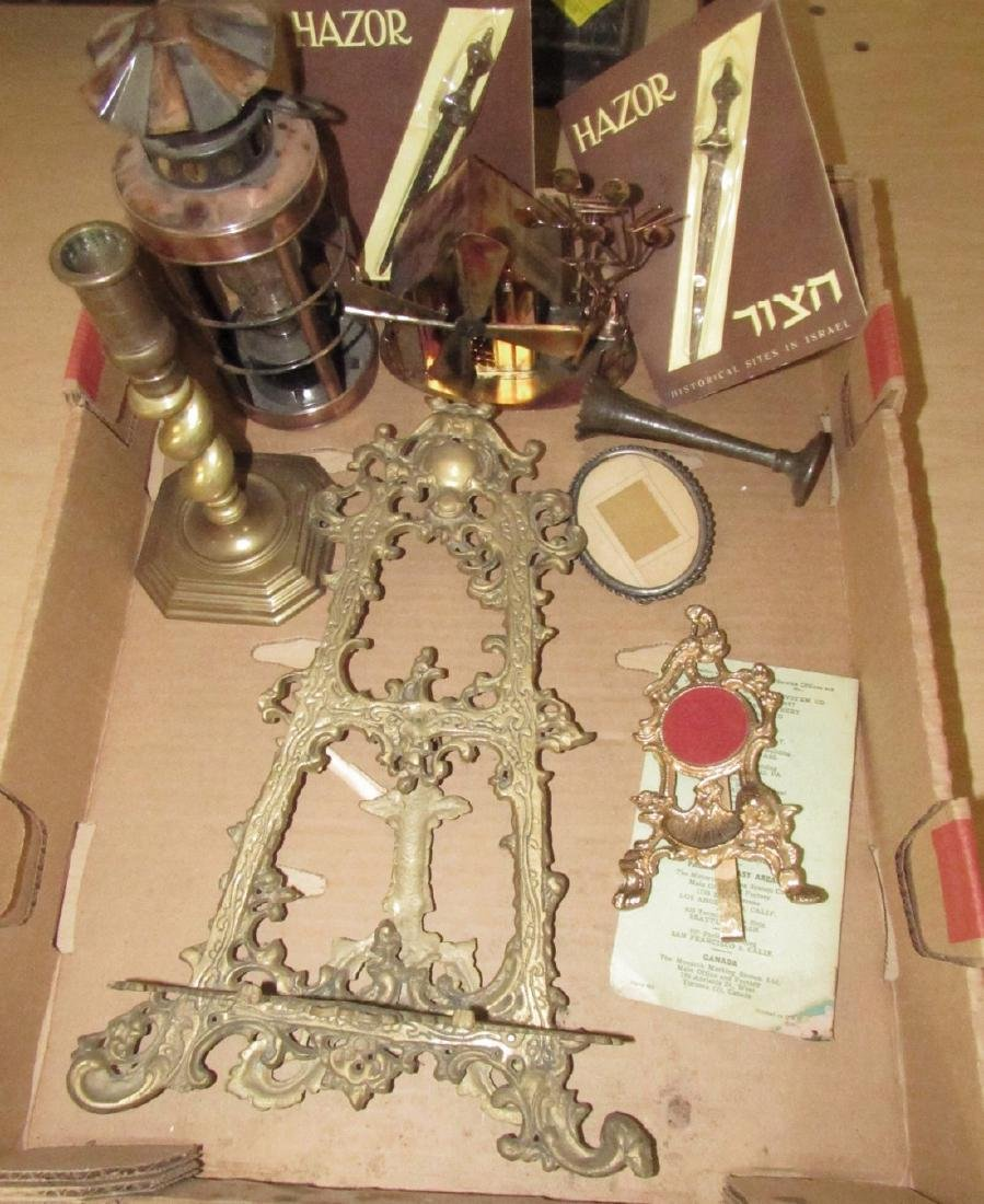 Brass Easel Candlestick Picture Frames Box Lot