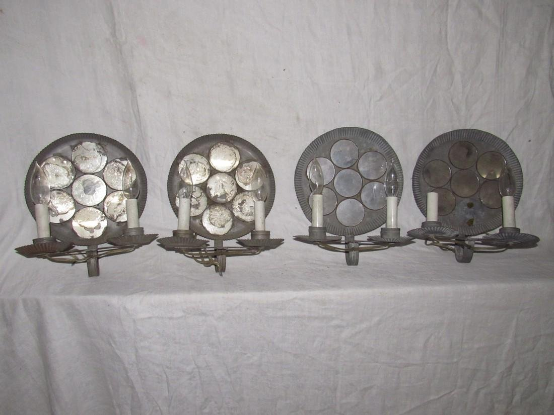 Tinware Wall Sconces with Mirrors