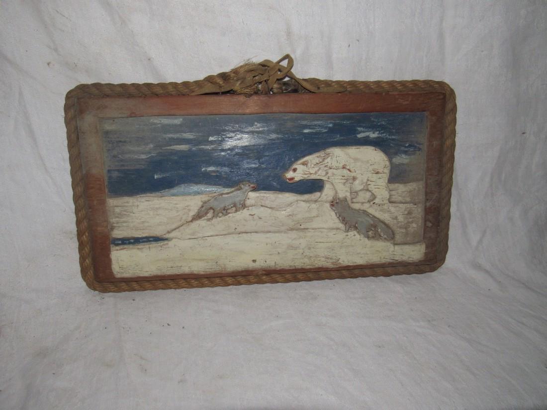 Folk Art Polar Bear & Wolf Wood Carving