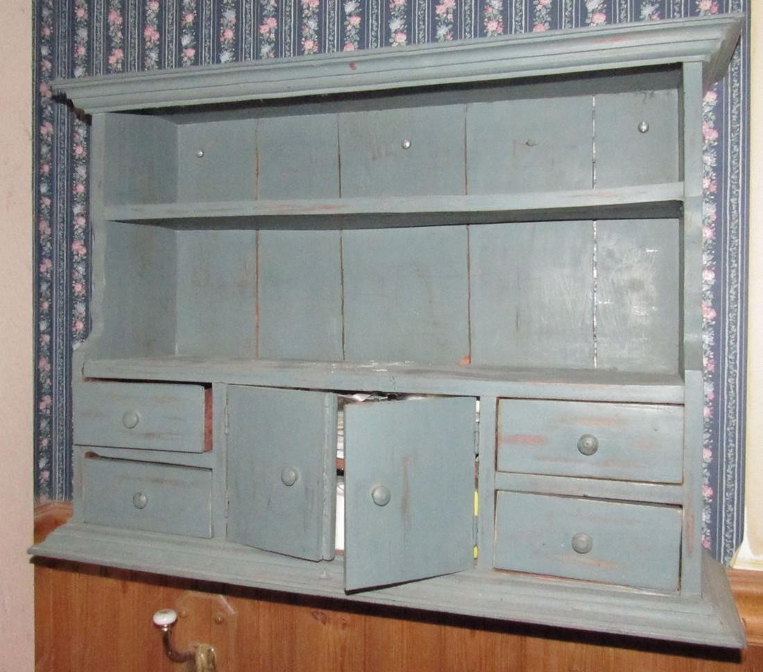Contents of Bathroom Blue Painted Cabinet