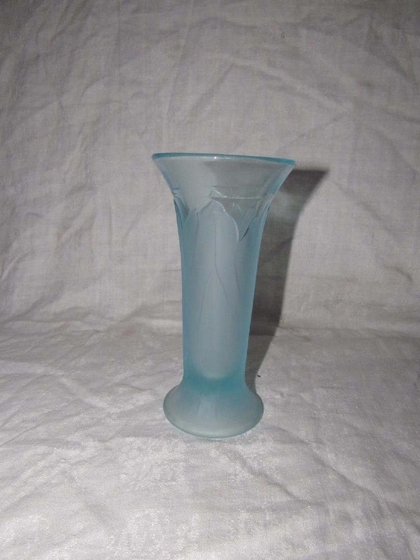 Blue Vaseline Glass Vase