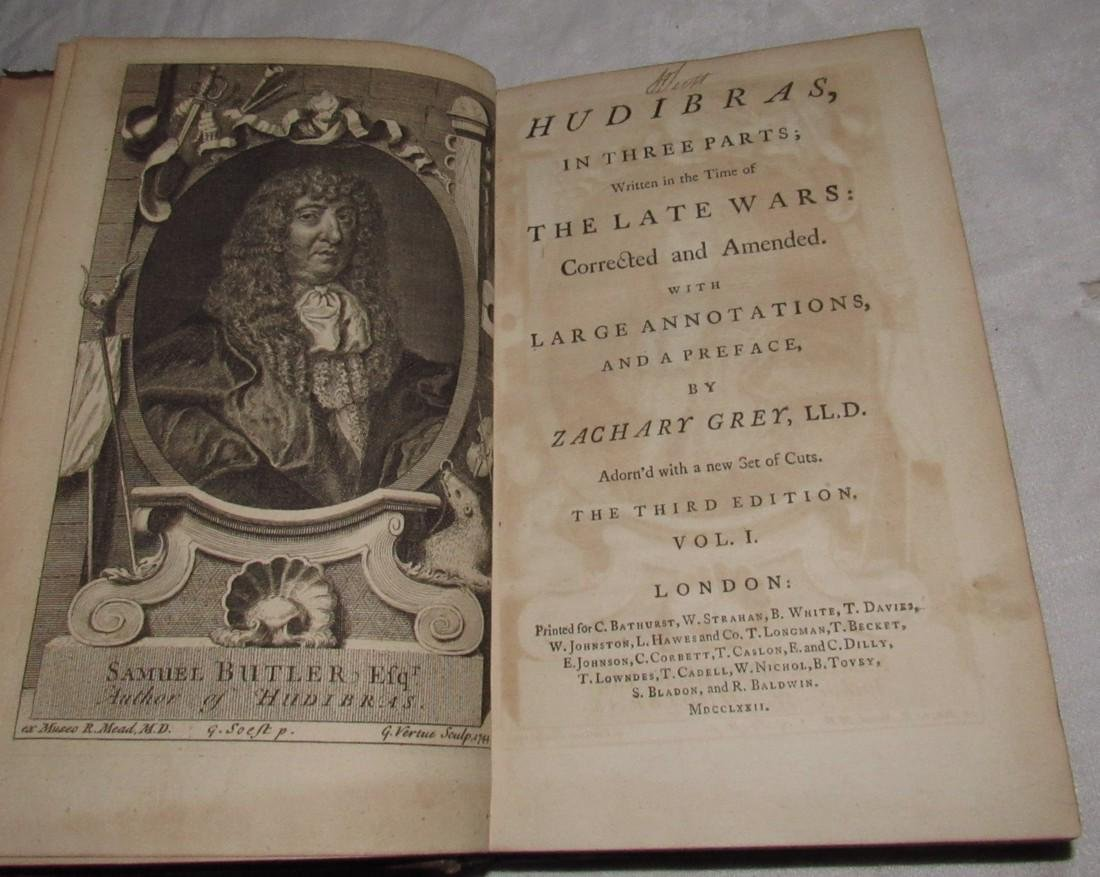 Hudibras The Late Wars by Zachary Grey 1772 Book - 3