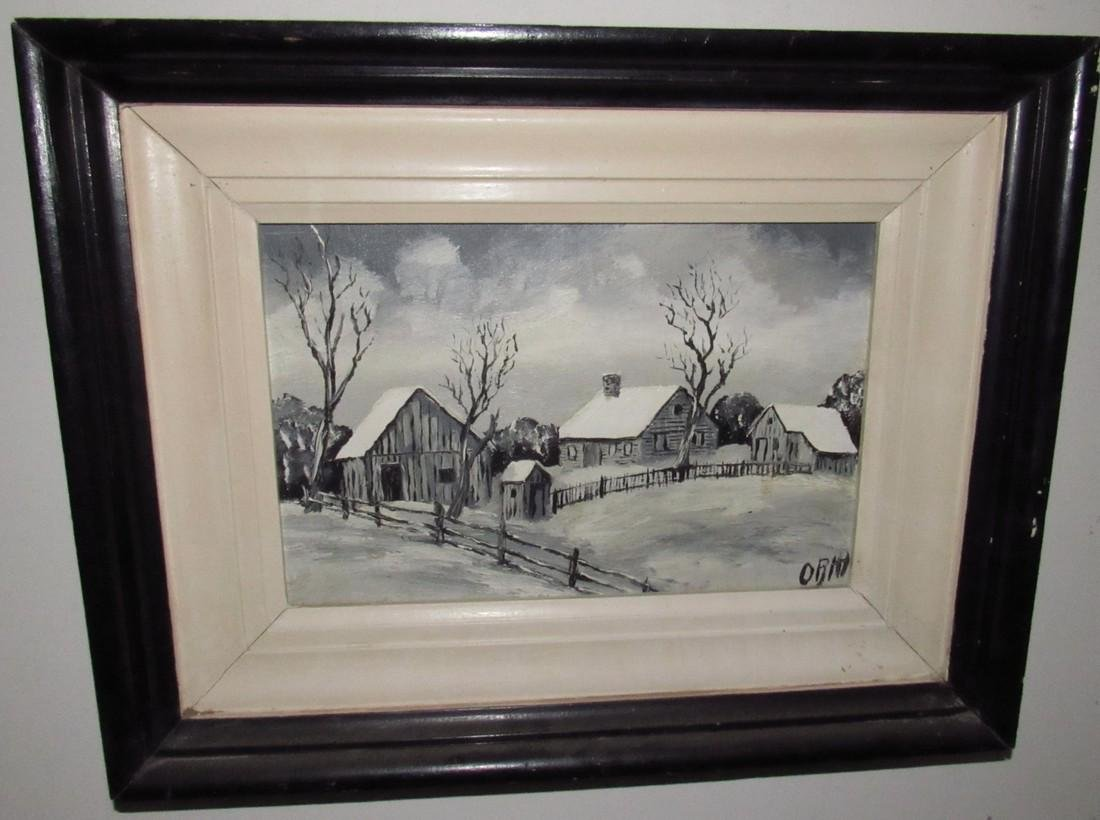 Winter Country Scene Oil on Canvas Painting