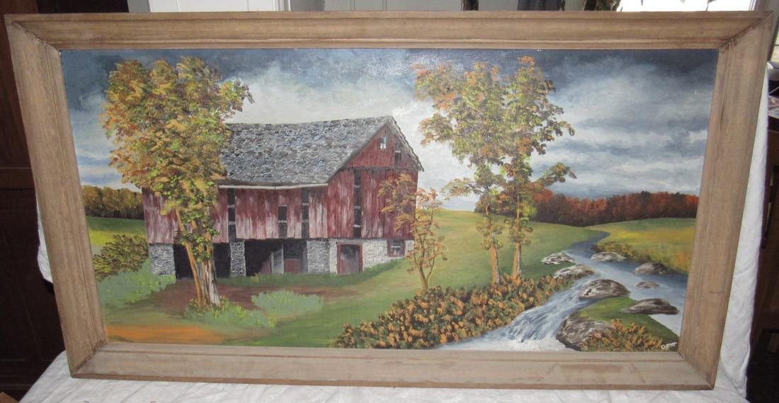 Oil On Board Country Barn Painting