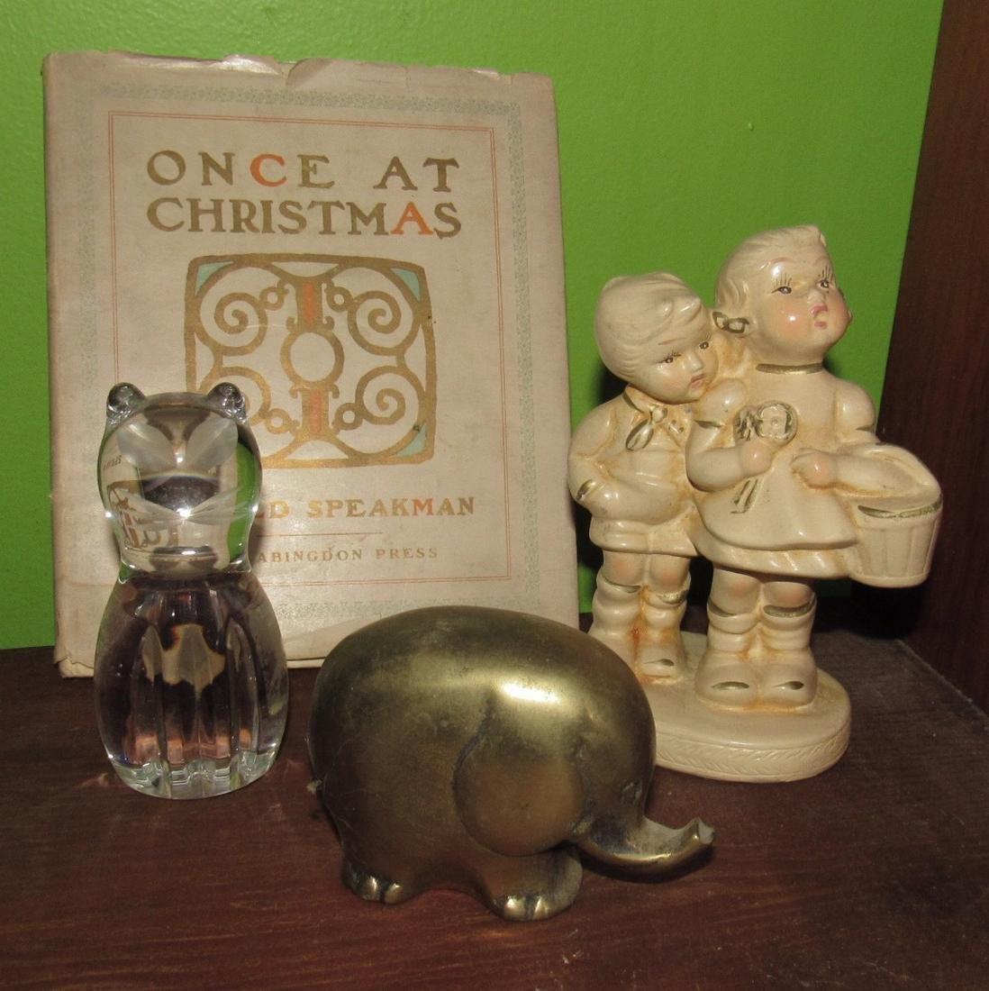 Spode Cat Plaster Figure Brass Elephant
