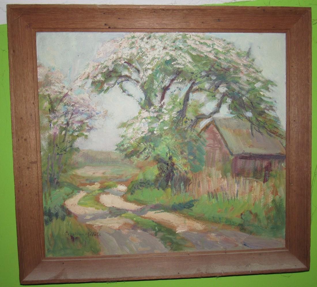 Caroline M. Bell Oil Painting on Board Landscape