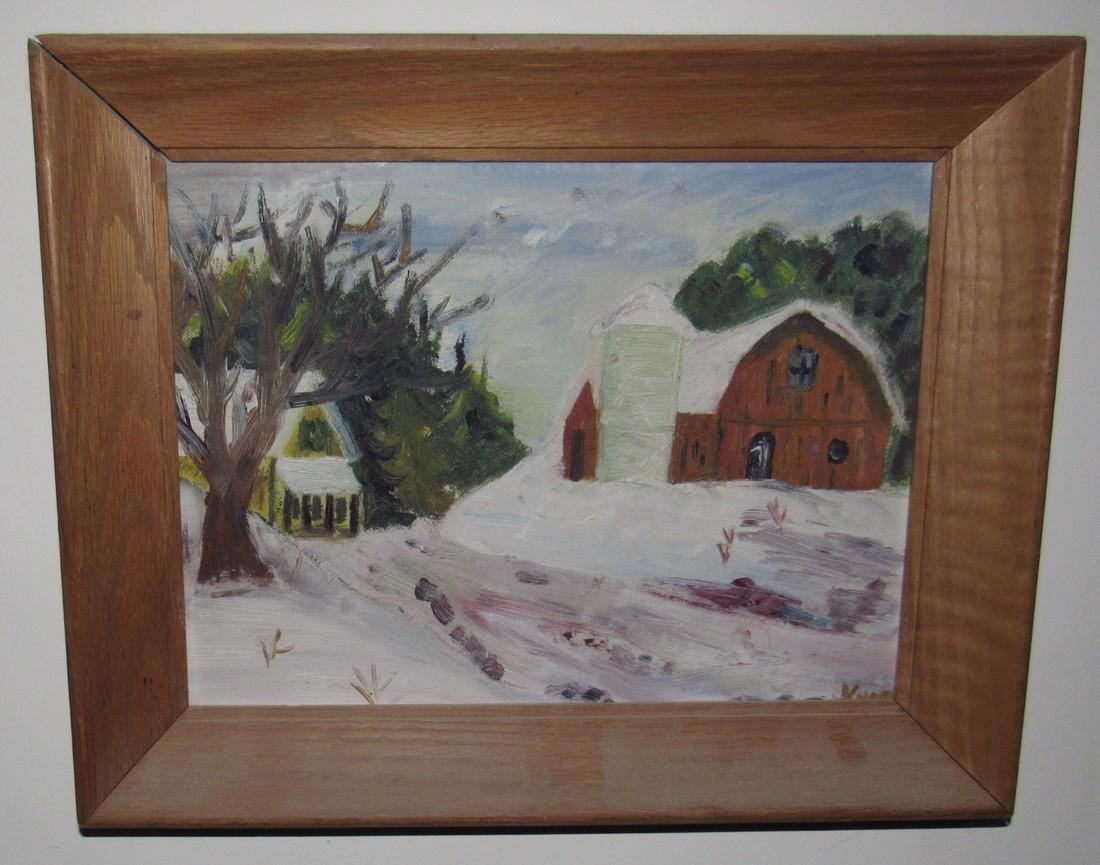Country Barn Winter Oil on Board Painting