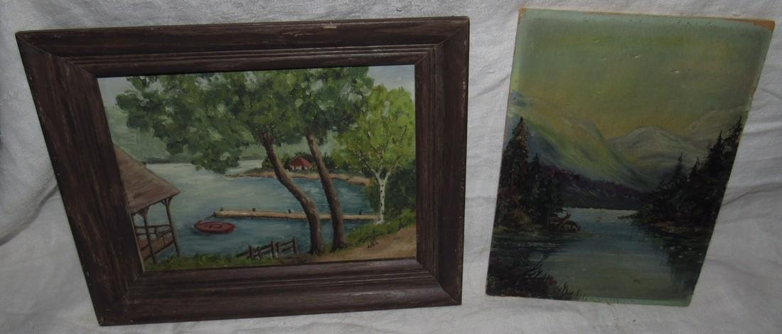 2 Oil on Board Paintings Water Landscape Scene
