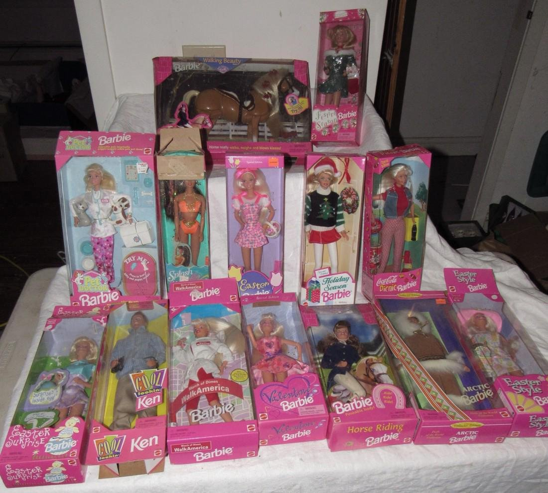 14 Vintage Barbie Dolls in Original Boxes