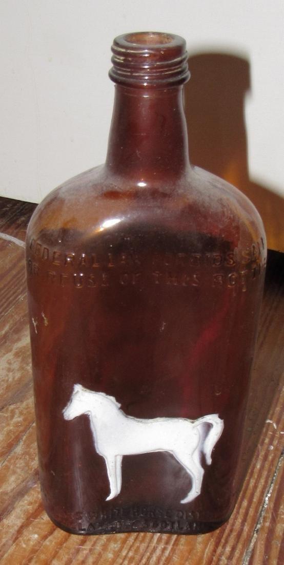 White Horse Embossed Liquor Bottle