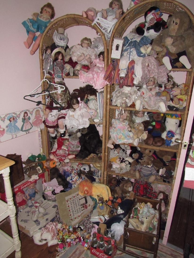 Large Lot of Dolls Stuffed Animals & Wicker Shelves