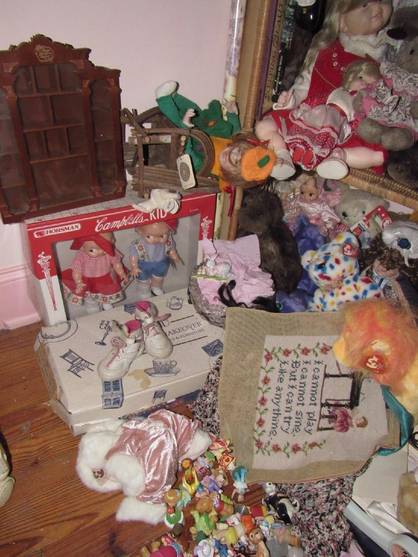 Large Lot of Dolls Stuffed Animals & Wicker Shelves - 2