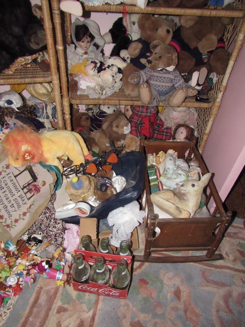 Large Lot of Dolls Stuffed Animals & Wicker Shelves - 3