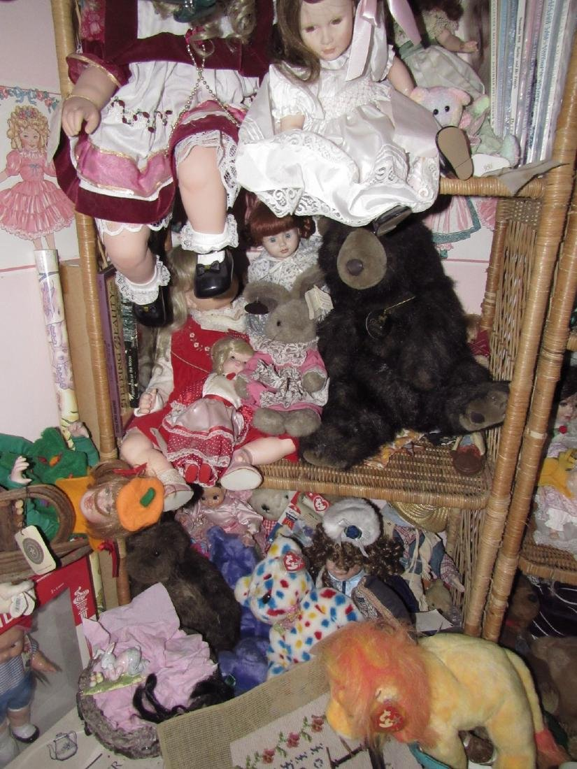 Large Lot of Dolls Stuffed Animals & Wicker Shelves - 4