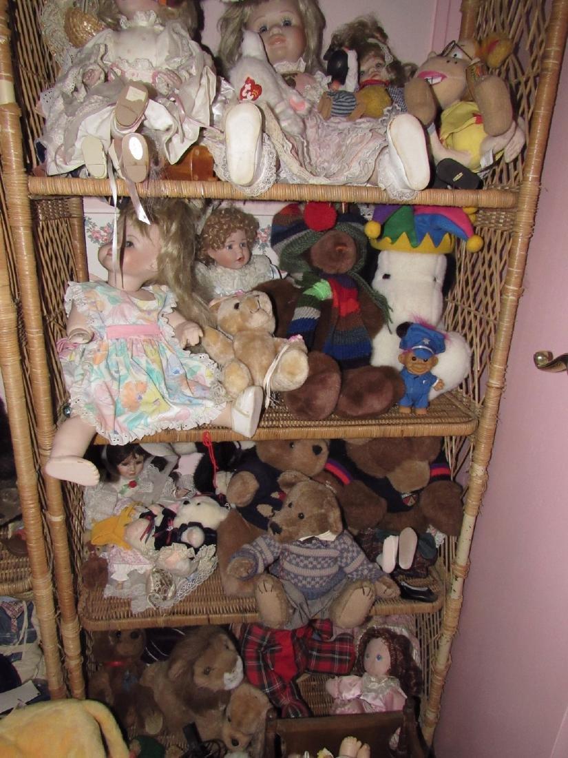 Large Lot of Dolls Stuffed Animals & Wicker Shelves - 5