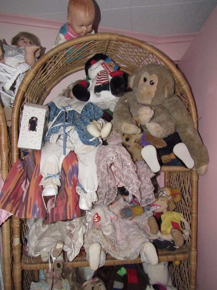 Large Lot of Dolls Stuffed Animals & Wicker Shelves - 6
