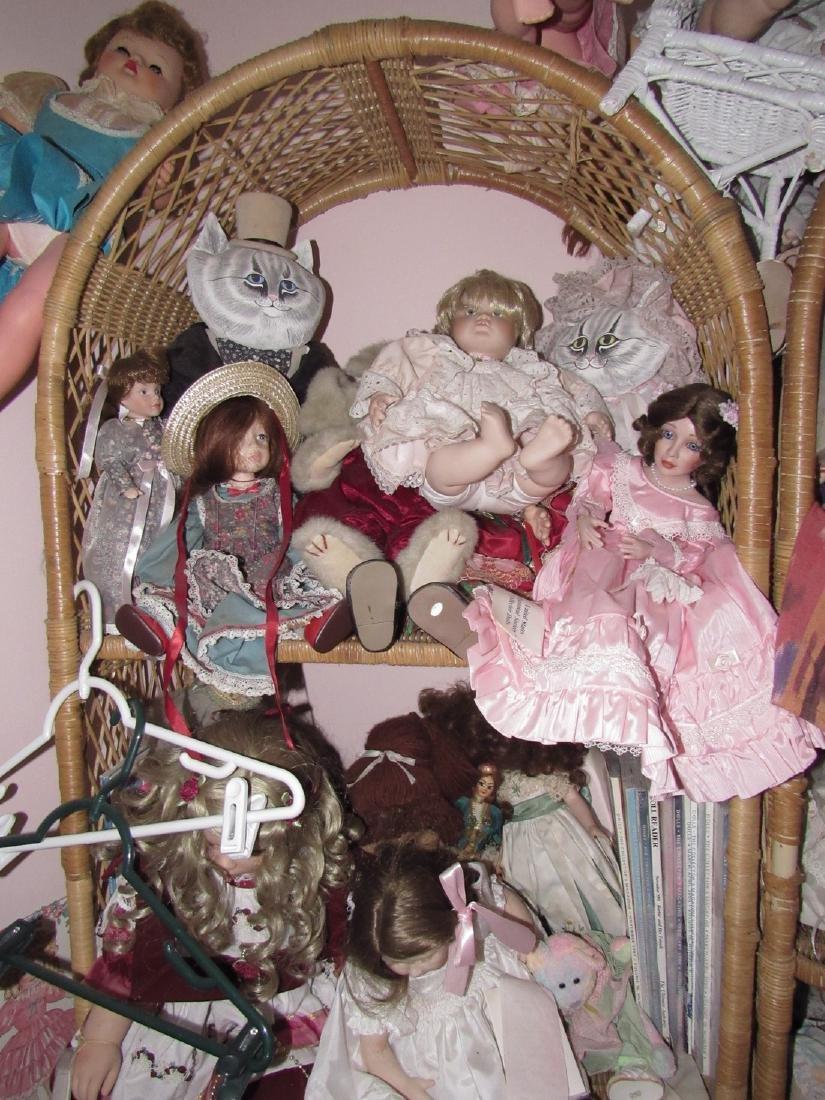 Large Lot of Dolls Stuffed Animals & Wicker Shelves - 7