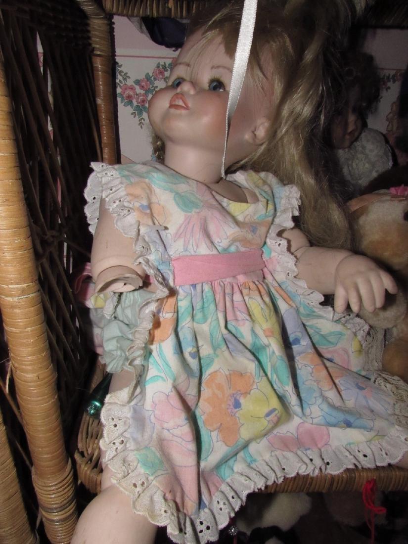 Large Lot of Dolls Stuffed Animals & Wicker Shelves - 9