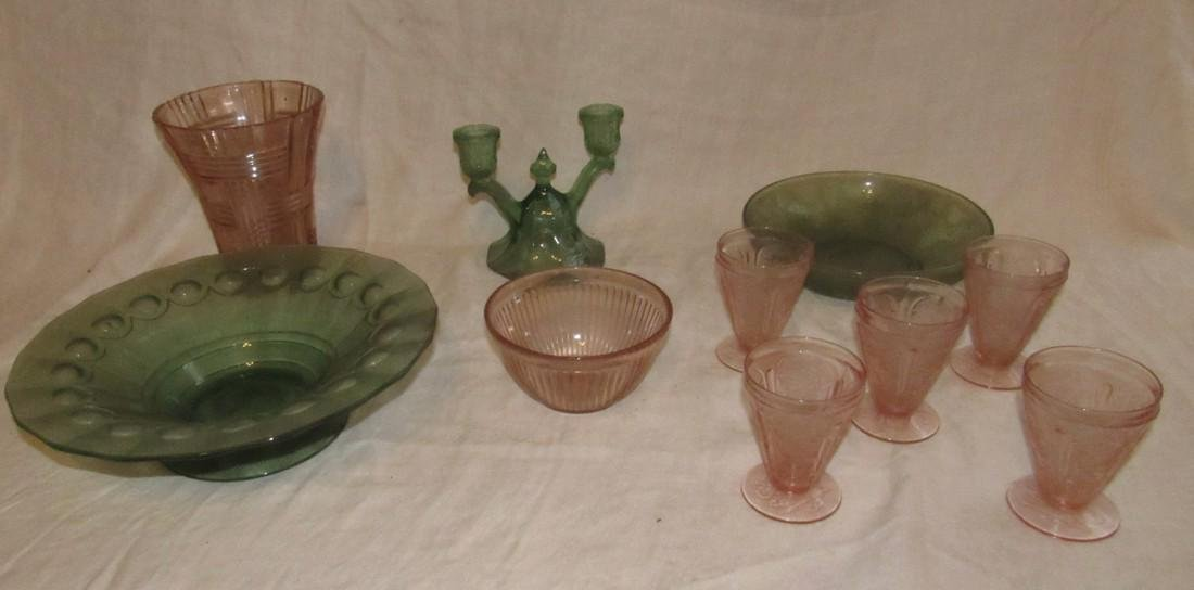 Depression Glass Bowls Candle Holder Vase