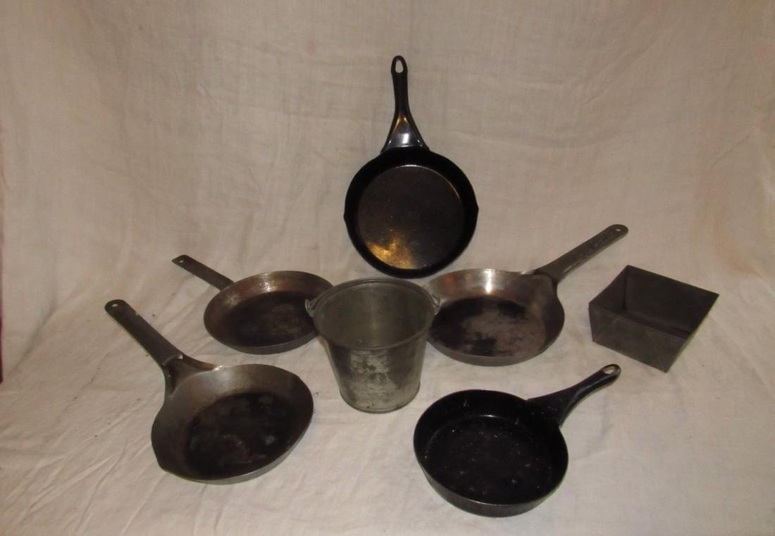 Vintage Frying Pans & Tin Pail