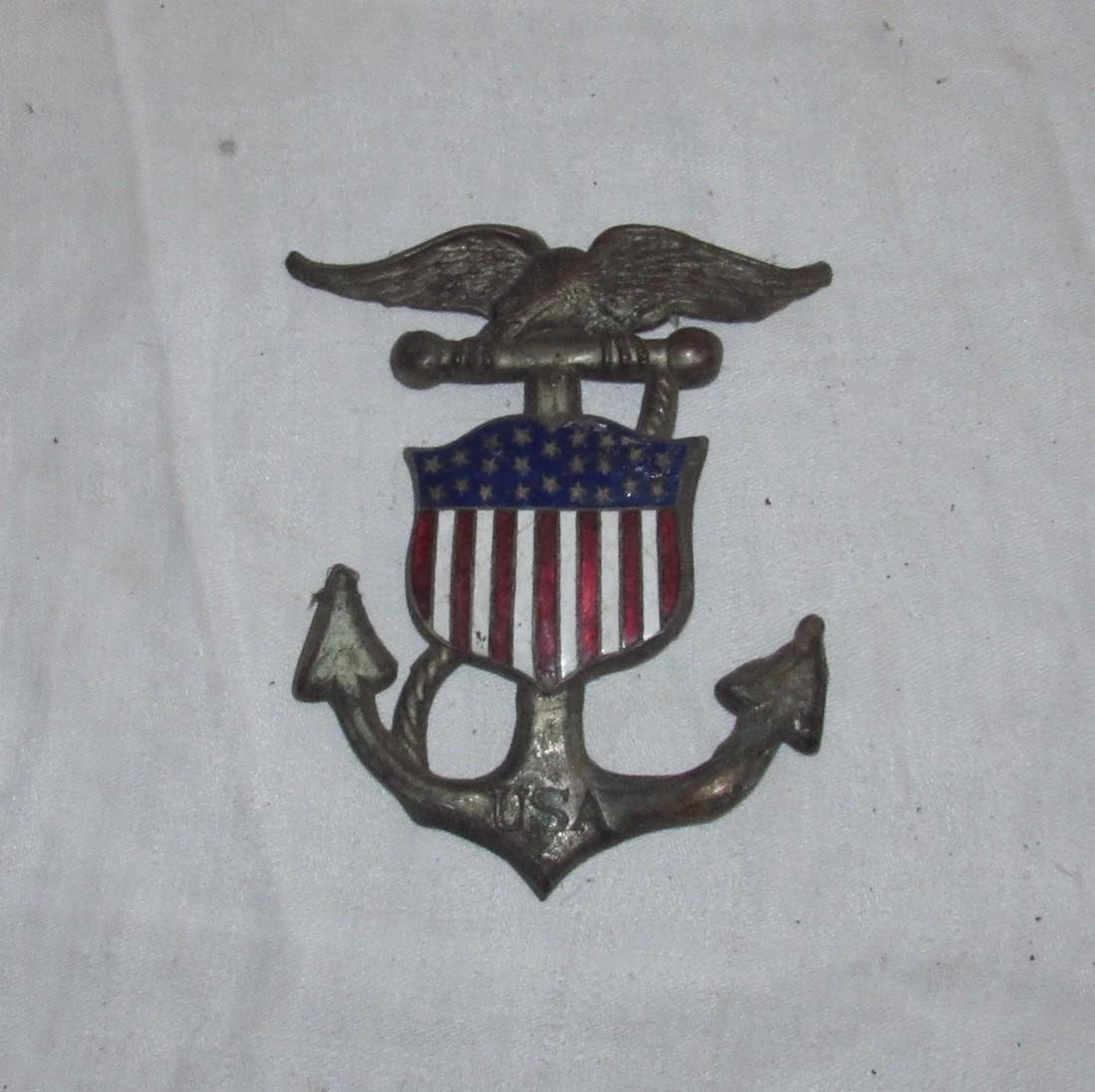 USA Navy Enamel Ware Eagle Anchor Plaque
