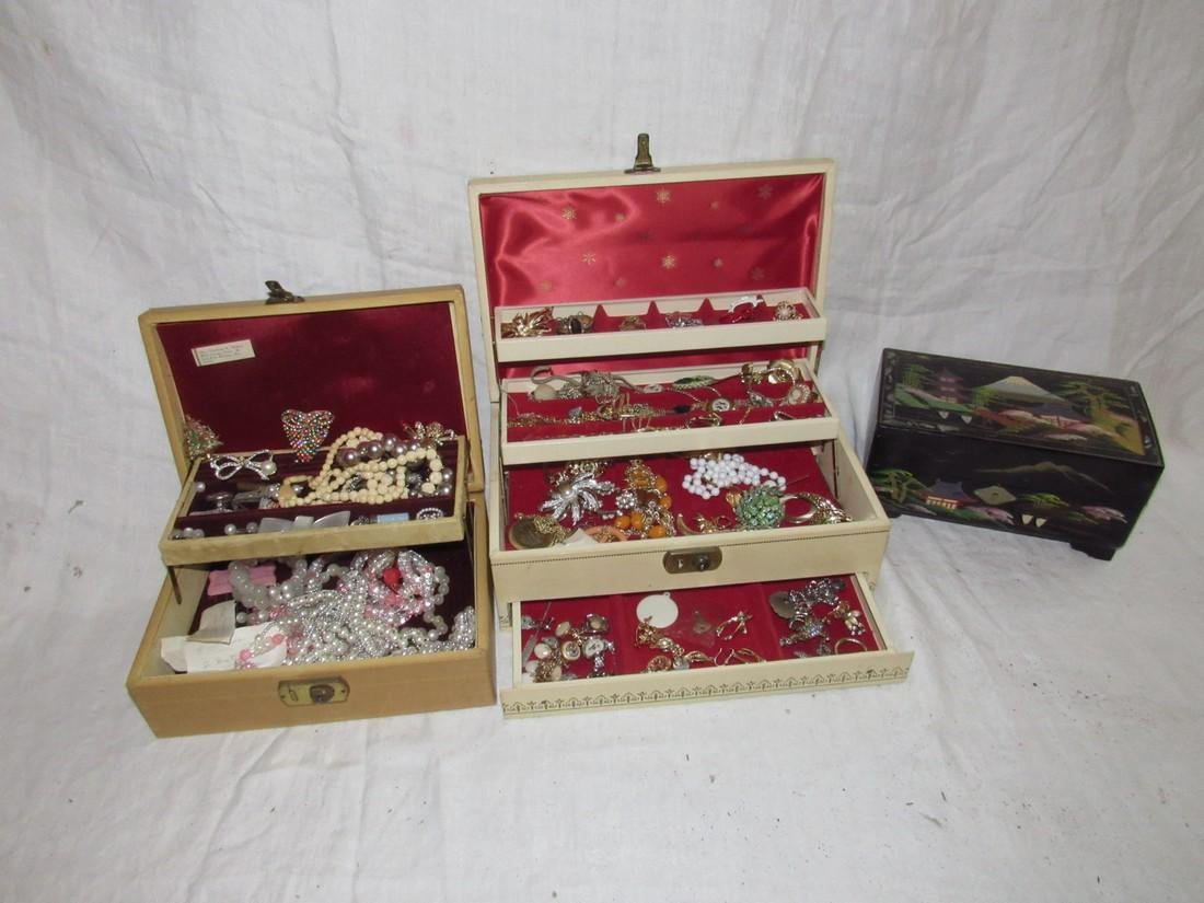 2 Boxes of Costume Jewelry Rings Brooches Necklaces