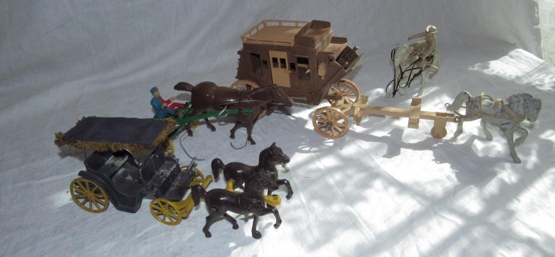 Ideal Toy & Cast Iron Stagecoach Wind Up Horse Sulky
