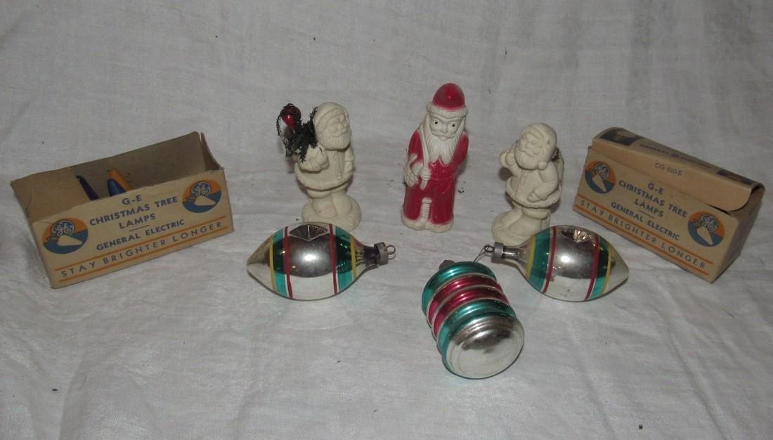 Vintage Christmas Ornaments Santa Figures