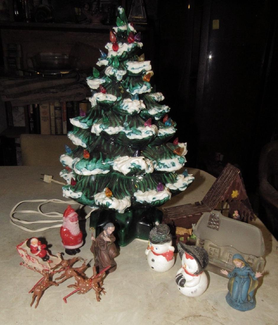 "16"" tall Ceramic Christmas Tree and Decorations"