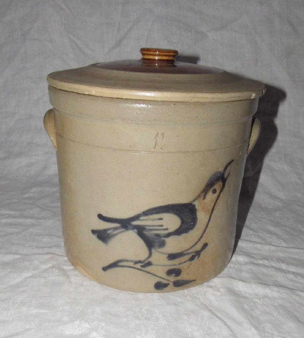 Fulper 1 1/2 Gallon Blue Decorated Bird Crock