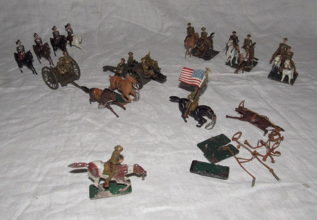 Britain & Warren Lines Lead Soldiers Horses Cannon