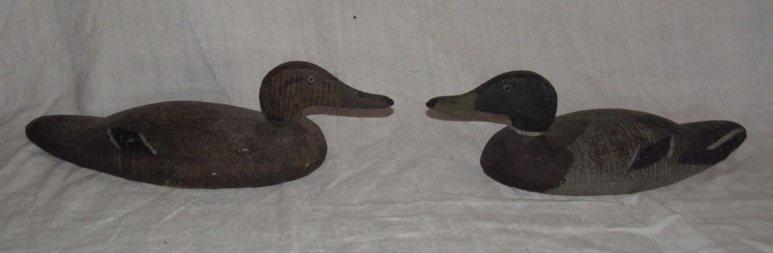 2 Wooden Carved Duck Decoys