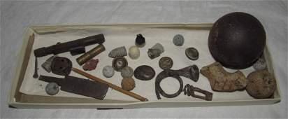 Civil War Canon Ball Musket Balls Buttons Copper Dice