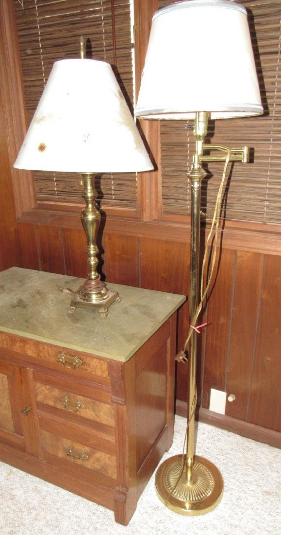 Brass Table Lamp and Floor Lamp