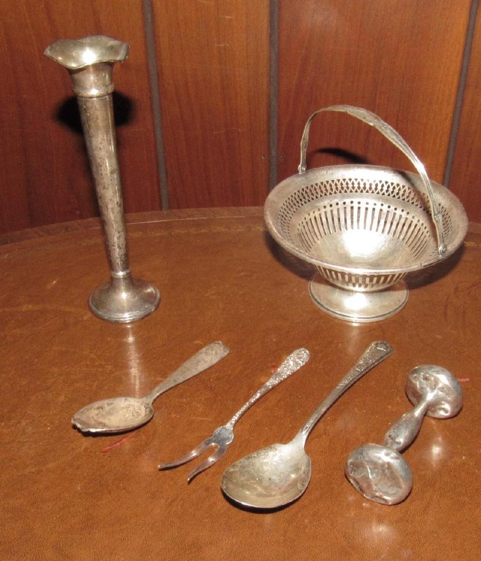 Sterling Silver Basket Bud Vase Cocktail Fork Rattle