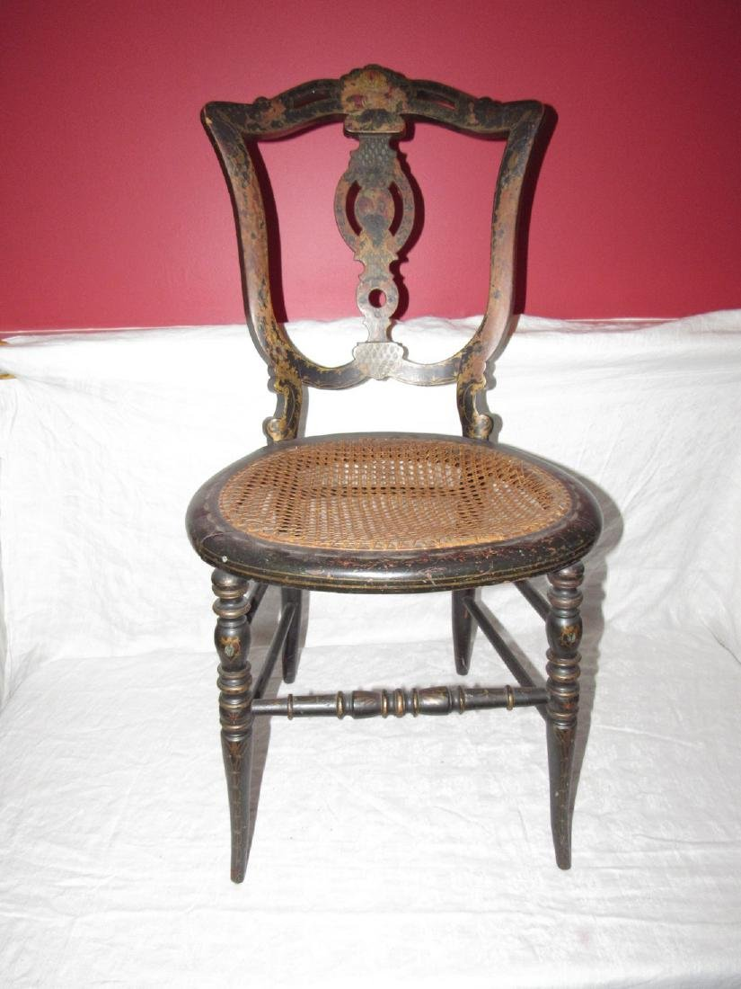 Paint Decorated Chair w/ Cane Seat